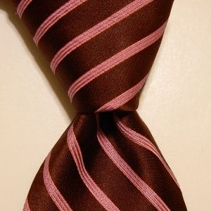TED BAKER Mens Silk Necktie STRIPED Brown/Pink EUC